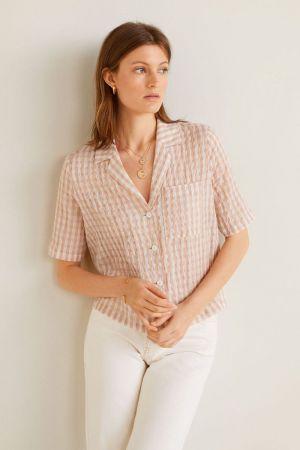 Gingham roze bluza